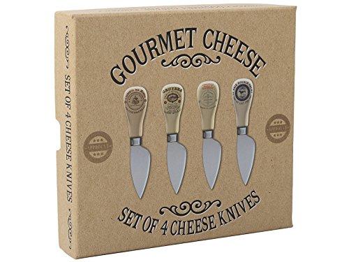 Kitchen Craft Creative Tops Estilo Vintage Gourmet Cuchillos para Queso en Caja de Regalo, Juego de 4, Multicolor