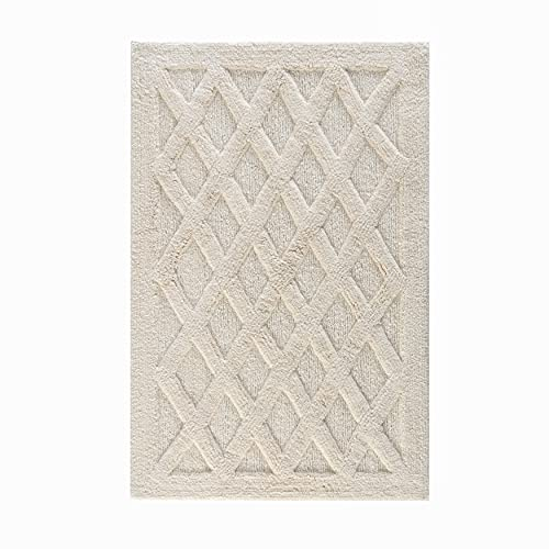 MH London Alderbury Hand Woven Bath Rugs - Hand Tufted Using 100% Cotton and Sizes (30X50)