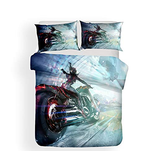 ZXXFR Duvet Cover Set Printed 3d motorcycle simple,Bedding Quilt Cover Soft Breathable for Girls Boys 3 Pieces (1 Duvet Cover + 2 Pillow cases)-220x230CM