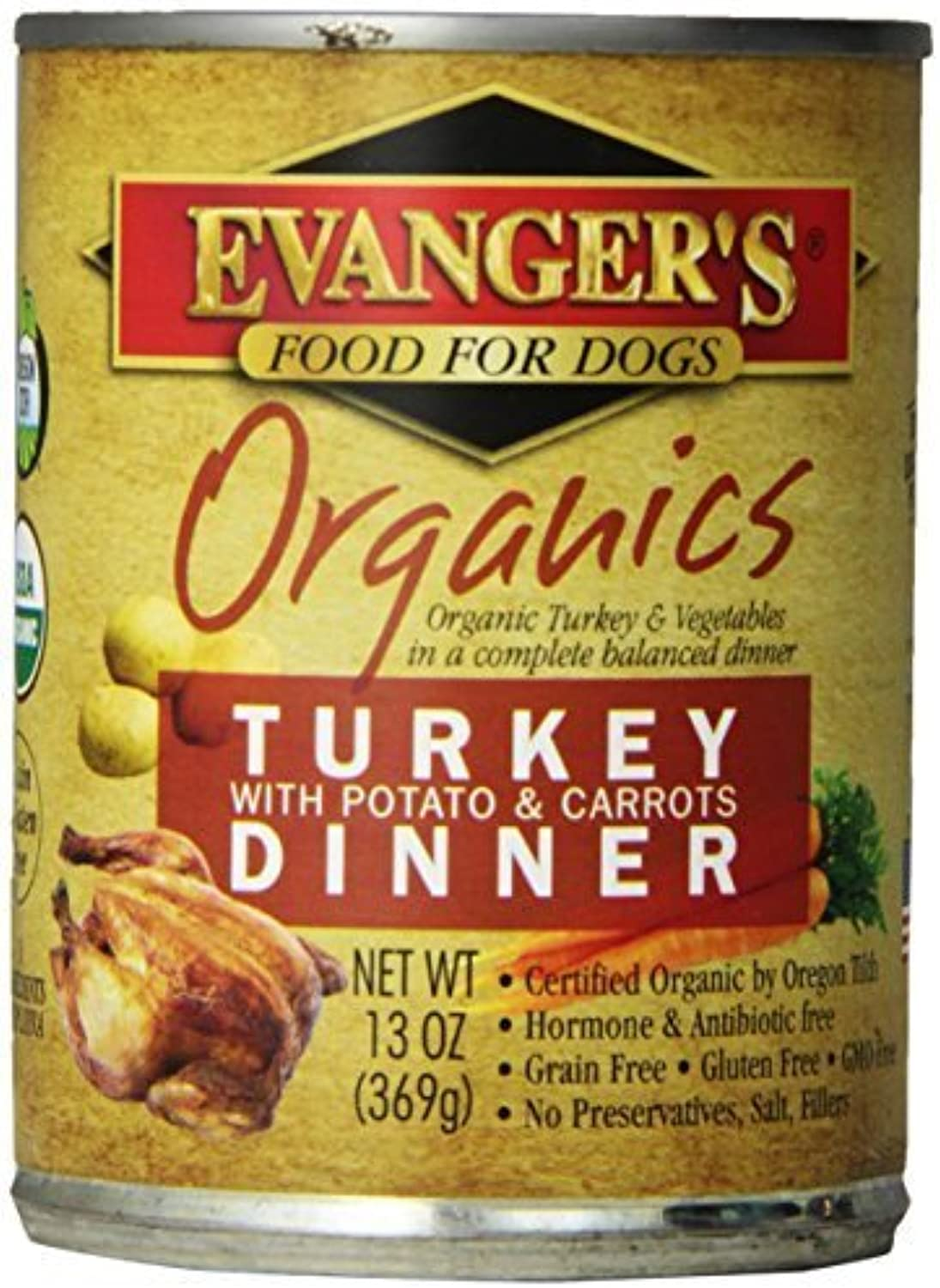Evanger's Organics Turkey with Potato and Carred Dinner for dogs 13 oz,12 Pack by Phillips Feed & Pet Supply