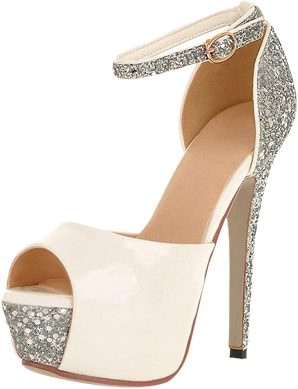 ZX Boots Women's High Heel Platform Party Pumps Ladies Glitter Ankle Strap Peep Toe Stiletto Court shoes