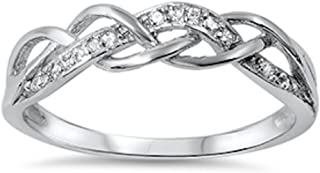 Best braided silver ring with cubic zirconia Reviews