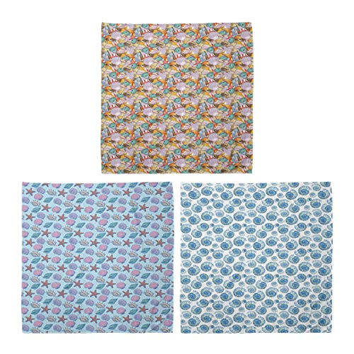 ABAKUHAUS Pack de 3 Bandanas Unisex, Pila de conchas marinas tramado Drawn Chesnut turbante vista superior, Multicolor