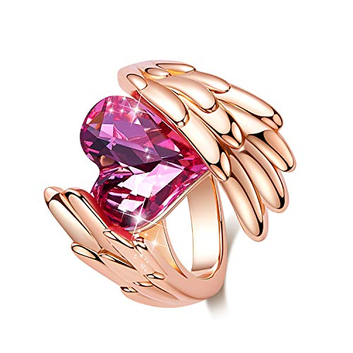 CDE Woman Elegant Rings Heart Shape Rhodium Plated Embellished with Austrian Crystals Rings Christmas Gifts for Women Bold Style Fit Size for 5-9