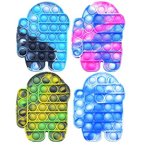 fitbuter Push Pop Fidget Spielzeug, Batik-Silikon, Push-Pop-Spielzeug, sensorisches Pop-it-Spielzeug, lindert emotionalen Stress für Kinder und Erwachsene (4 Packungen)