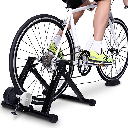 Sportneer Turbo Trainer, Bike Trainer Stand Steel Bicycle Exercise Magnetic Stand with Noise Reduction Wheel for Indoor Trainer (Black)