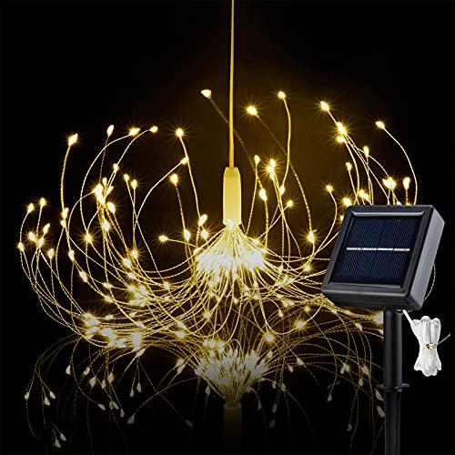 HEJOR Solar Starburst Light, Solar Chandelier Lights 180 LEDs   Solar Umbrella Fairy Light   Solar Firework Light   Hanging Decorative Lights for Party Garden Patio Bedroom,DIY Indoor/Outdoor Using