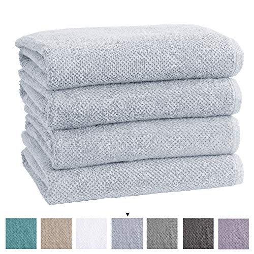 Great Bay Home 100% Cotton Quick-Dry Bath Towel Set (30 x 52 inches) Highly Absorbent, Textured Popcorn Weave Bath Towels. Acacia Collection (Set of 4, Sterling Blue)