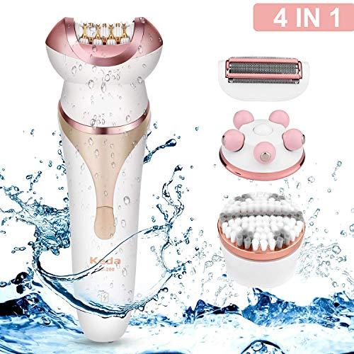 Epilierer Rasierer Damen, 4 in 1Epilierer Haarentferner für Damen Elektrorasierer für Gesicht, Körper, Beinen und bikinizone, Wasserfest und Wiederaufladbar, Nass und Trocken, Wet & Dry