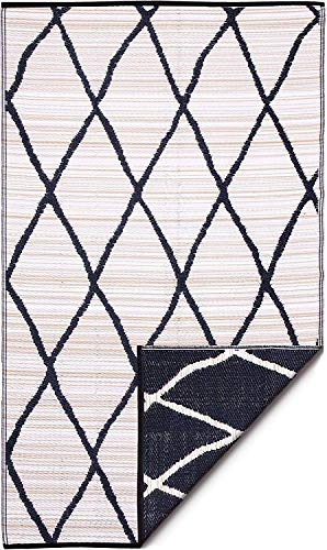 Fab Habitat Reversible Rugs | Indoor or Outdoor Use | Stain Resistant, Easy to Clean Weather Resistant Floor Mats | Nairobi - Natural & Black, 6' x 9'