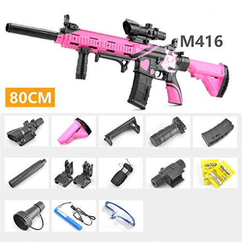 A&F Water Bullets Gun Outdoor Toys For Boys Plastic Rifle Soft Paintball CS Games Outdoor Kids Weapon Toy Guns,Pink