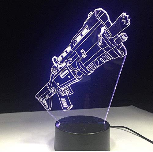 Lámpara 3D para rifle táctico 3D, lámpara 3D, lámpara de estado de ánimo, intercambiable, base de luz nocturna para regalo de amigos de juego, regalo de cumpleaños para niños con interruptor remoto