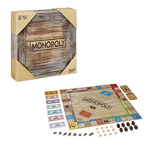 Hasbro Gaming Rustic Woods Monopoly de Madera, Edición Retro para coleccionistas