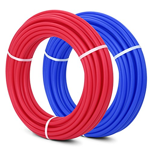 PEX Pipe 1/2 Inch Flexible Water Pipe 2 Rolls of X 100 Feet Tubing Red / Blue Potable Water Pex Tubing