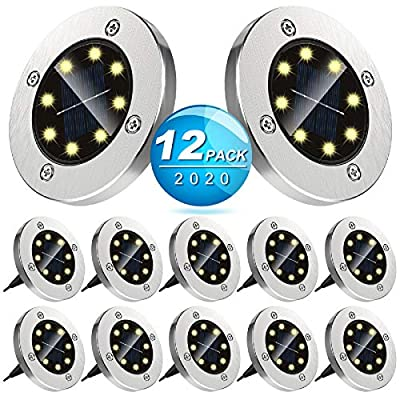12 Pack Solar Ground Lights Outdoor with 8 LEDs Warm White Auto on/off Garden Waterproof In-Ground Disk Lights for Patio, Yard, Lawn, Pathway, Walkway