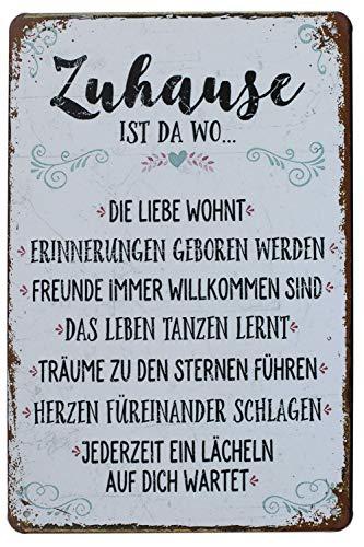 Hioni Zuhause ist Da Wo Die Liebe Wohnt Vintage Blechschild Poster Wandschild Wand Dekoration Metallschild Türschild