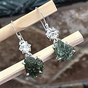 Natural Green Czech Republic Moldavite, Herkimer Diamond 925 Solid Sterling Silver Earrings