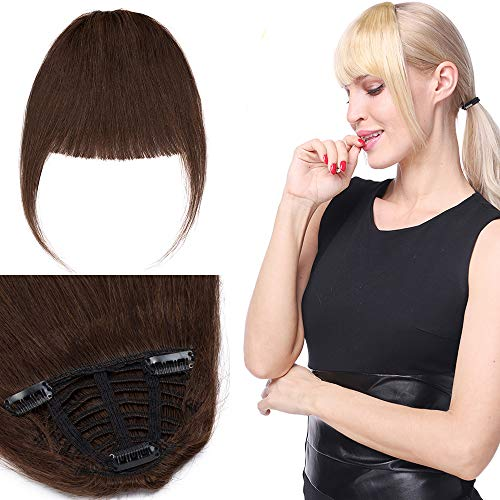 Extensions Echthaar Clip in Pony Natürlich Weich Haarteil Stirnfranse Haarverlängerung 1 Piece 25g 30cm 04# Mittelbraun