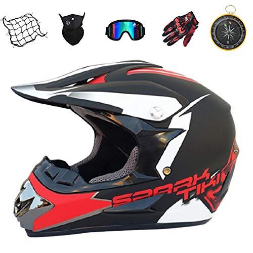 IURIMA KIDS Motocross Helmet with Goggles Gloves Mask Helmet-Net-Red ((55-56) M)