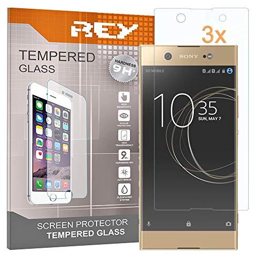 REY 3X Protector de Pantalla para Sony Xperia XA1 Ultra, Cristal Vidrio Templado Premium