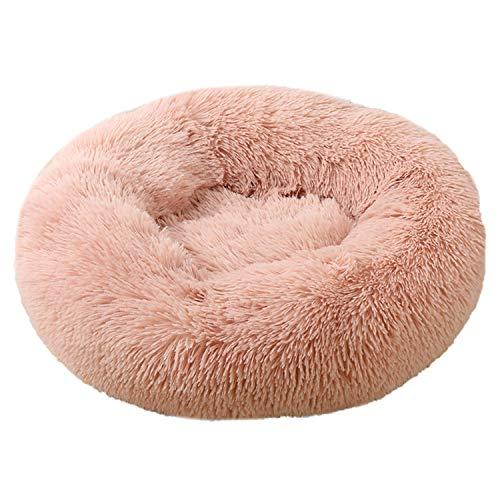 Voqeen Plush Donut Dog's Cat's Bed Round Warm Cuddler Kennel Soft Puppy Sofa Cat Cushion Bed, Skin Pink Plush Anti-Slip Bottom Calming Nest Bed