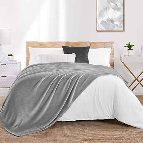 Walensee Fleecedecke, flauschig, leicht, für Queen-Size-Bett, 228,6 x 228,6 cm, Aschgrau