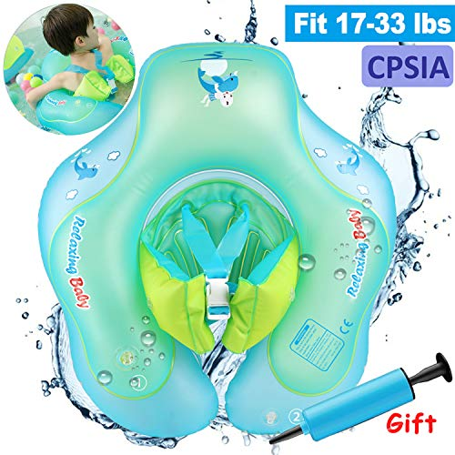 Baby Swimming Training Pool Float with Double Airbags Adjustable Strap,Inflatable Swim Float Ring for 6-30 Months Baby Infant Toddlers Learn to Swim Trainer Aid Outdoor Swim Pool Bathtub Accessories