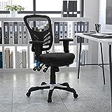 Flash Furniture Silla de escritorio ergonómica, giratoria, de malla, multifunción, respaldo medio, reposabrazos ajustables, color Negro