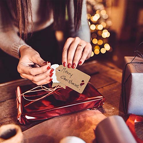 150 PCS Kraft Paper Gift Tags Kraft Hang Tags with String Great as Christmas Gift Tags, Wedding Favor Tags, Birthday Gift Tags, Baby Shower Favor Tags,or Other Place Name Cards. Photo #5