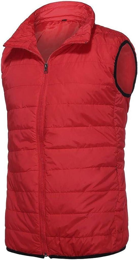 FORUU Men's Puffer Vest Zipper Casual Warm Comfy Padded Fashion Pure Color Waistcoat Coat Hooded Jacket Vest Gilet
