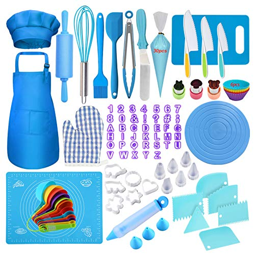 Kids Cooking and Baking Set,125Pcs Kids Baking Supplies with Apron Chef Hat Oven Mitt,Piping Tips,Measuring Spoons,Plastic Cooking Knives,Cake Decorating Kit Cooking Supplies for Junior Chef
