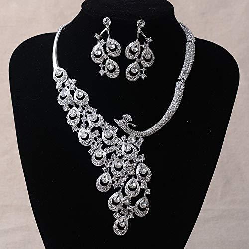 weichuang Juego de joyas para mujer de lujo de oro con diamantes de imitación de pavo real, chapado en plata, collar y pendientes, juego de joyería de boda (color de metal: plata y blanco)