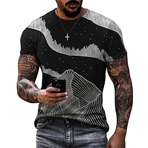 Shirt Ocio Hombres Estilo Hip Hop Cuello Redondo Verano Manga Corta Hombres Shirt Personalidad Básica Impresión Creativa Hombres T-Shirt Tendencia Novedad Hombres Streetwear