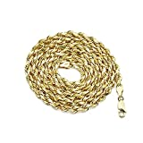 14K Yellow Gold 5mm Diamond Cut Rope Chain Necklace, Mens Womens with Lobster Lock (20)