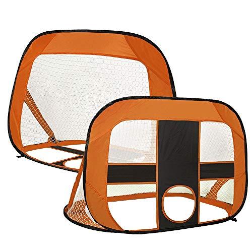 Wygodna Bramka do Piłki Nożnej Pop Up Football Cele Składane i przenośne Soccer Bramka Dzieci Outdoor Garden Toy Produkt Zewnętrzny (Color : Orange, Size : 120x85x85cm)