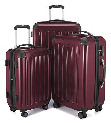 HAUPTSTADTKOFFER - Alex - 3er Koffer-Set Trolley-Set Rollkoffer Reisekoffer Erweiterbar, 4 Rollen, TSA, (S, M & L), Burgund