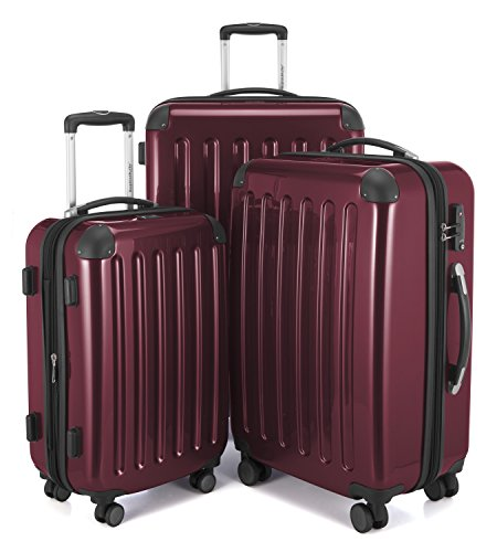 HAUPTSTADTKOFFER - Alex -  4 Doppel-Rollen 3er Koffer-Set Trolley-Set Rollkoffer Reisekoffer, TSA, (S, M & L), Burgund