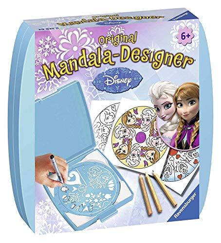 Ravensburger Mandala Designer Mini Frozen 29835, Zeichnen lernen mit Anna und Elsa für Kinder ab 6 Jahren, Kreatives Zeichen-Set mit Mandala-Schablone für farbenfrohe Mandalas