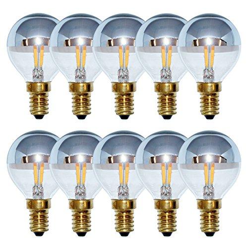 10 x LED Filament Tropfen 4W = 40W E14 Kopfspiegel Silber Glühfaden warmweiß 2200K Kugel