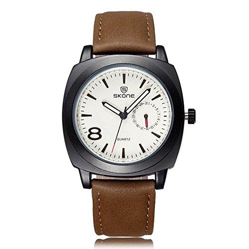 SKONE Herren Luminous Analoge Uhr Special Kalender PU Leder Band 505904(Light Coffee)