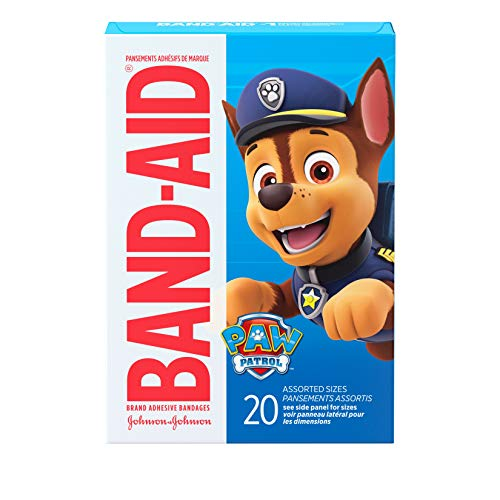Band-Aid Brand Adhesive Bandages for Minor Cuts & Scrapes, Wound Care Featuring Nickelodeon Paw Patrol Characters for Kids and Toddlers, Assorted Sizes 20 ct