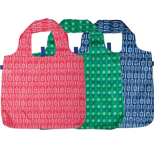 rockflowerpaper Navy Pink Tennis Wimbledon Green Golf Blu Bag Pack of 3 Reusable Grocery Shopping Bag, Eco-friendly Convenient Machine Washable Everyday Totes