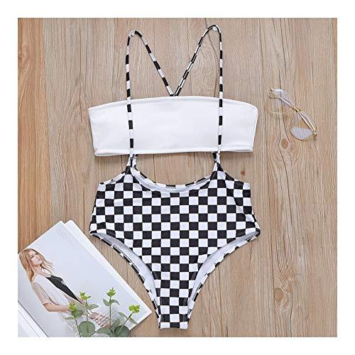 Madong Bikini-Badeanzug, sexy BH, kariert Gr. M, weiß