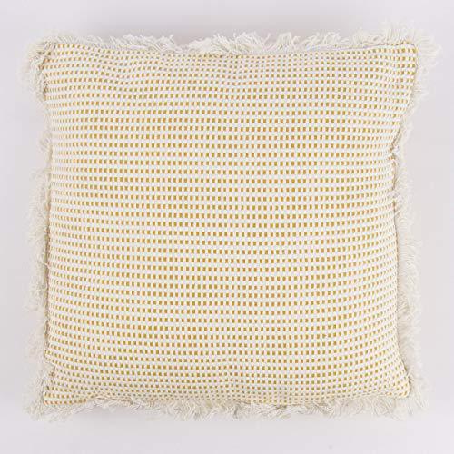 Mooi leven. Decoratief kussen met franjesomranding geweven structuur mosterd geel natuur wit 40x40cm