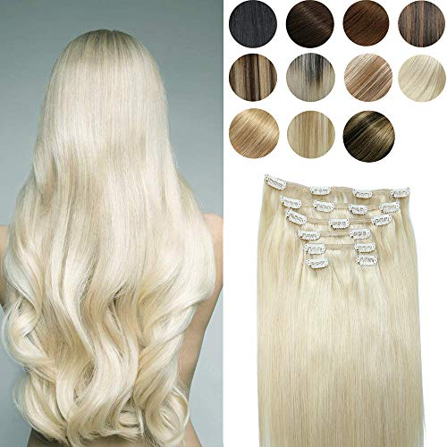 Platinum Blonde Clip In Human Hair Extension 10A Grade Brazilian human hair extension 100% Naturally Human Silky Straight Hair For Fashion Women(18In 120g 7Pcs)