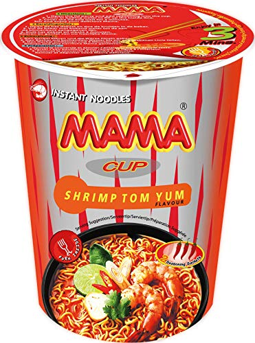 MAMA Instant-Cup-Nudeln Tom Yum mit Shrimpsgeschmack – Instantnudeln orientalischer Art – Authentisch thailändisch kochen – Enthält Gabel – 2 x 8 à 70 g