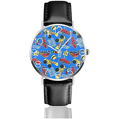 Reloj Reloj de Pulsera Camiones Tractores Azul clásico Cuarzo Casual Correa de Cuero Negro Reloj Relojes de Negocios