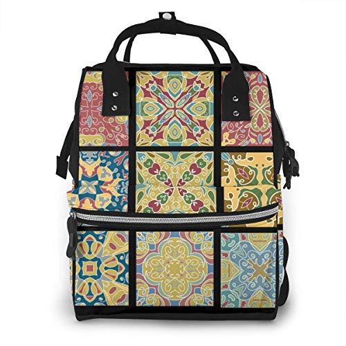 Große Kapazität Wickeltasche, wasserdicht, Reise-Manager Baby Care Ersatztasche, vielseitig, stilvoll und langlebig, geeignet für Mama und Papa (Keramikfliesen für marokkanische Wein)