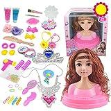 ZXYSMM Muñeca niña juguete busto puede maquillaje trenzado peluquería princesa traje de regalo para niños/F/Talla única