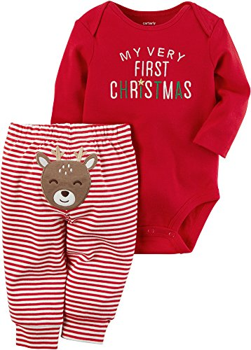 Carter's Baby My 1st Christmas Reindeer 2-Piece Bodysuit Pants Set 9 Months Red